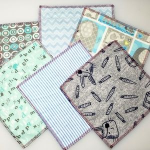 10 reusable CLOTH WIPES mixed blues